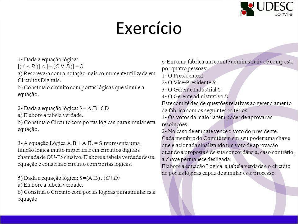Exercício 1- Dada a equação lógica: [(A B )] [ (C V D)] = S a) Rescreva-a com a notação mais comumente utilizada em Circuitos Digitais.