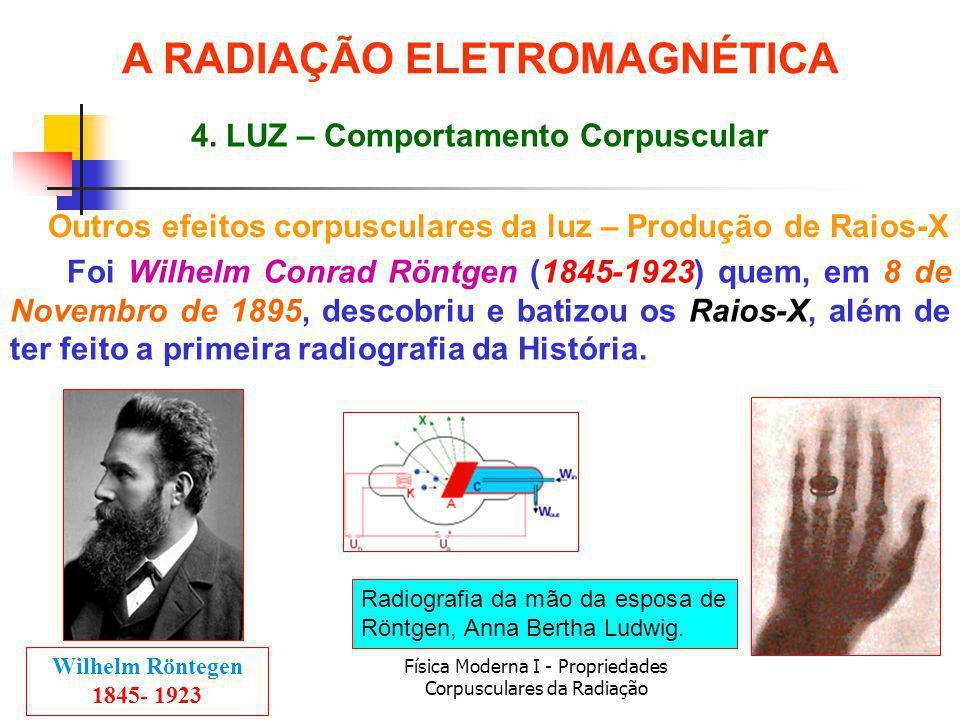 Física Moderna I - Propriedades Corpusculares da Radiação Foi Wilhelm Conrad Röntgen (1845-1923) quem, em 8 de Novembro de 1895, descobriu e batizou os Raios-X, além de ter feito a primeira radiografia da História.