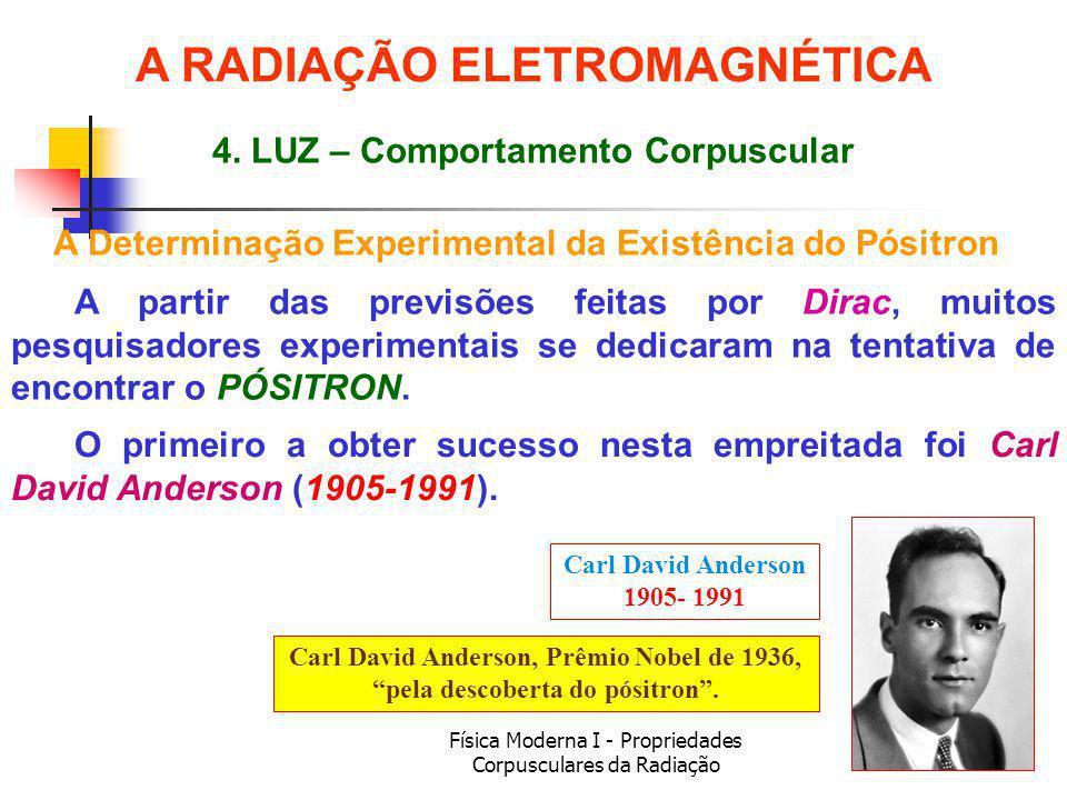 Física Moderna I - Propriedades Corpusculares da Radiação A Determinação Experimental da Existência do Pósitron A partir das previsões feitas por Dirac, muitos pesquisadores experimentais se dedicaram na tentativa de encontrar o PÓSITRON.