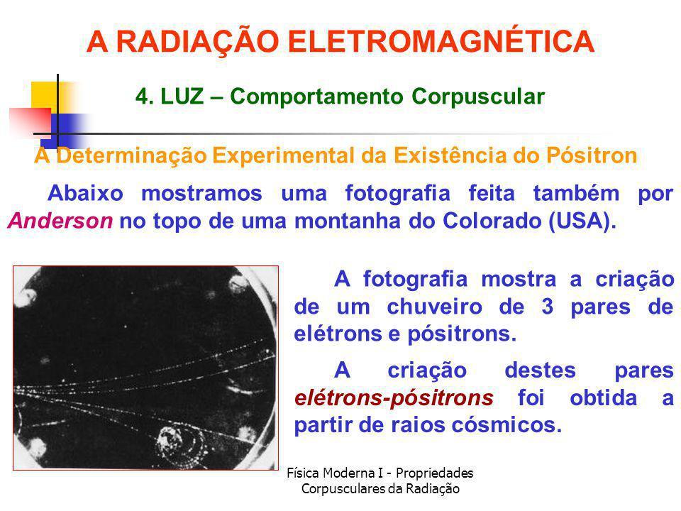 Física Moderna I - Propriedades Corpusculares da Radiação A Determinação Experimental da Existência do Pósitron Abaixo mostramos uma fotografia feita também por Anderson no topo de uma montanha do Colorado (USA).