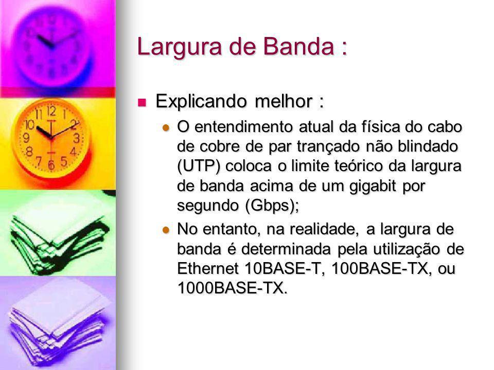 Largura de Banda : Explicando melhor : Explicando melhor : O entendimento atual da física do cabo de cobre de par trançado não blindado (UTP) coloca o