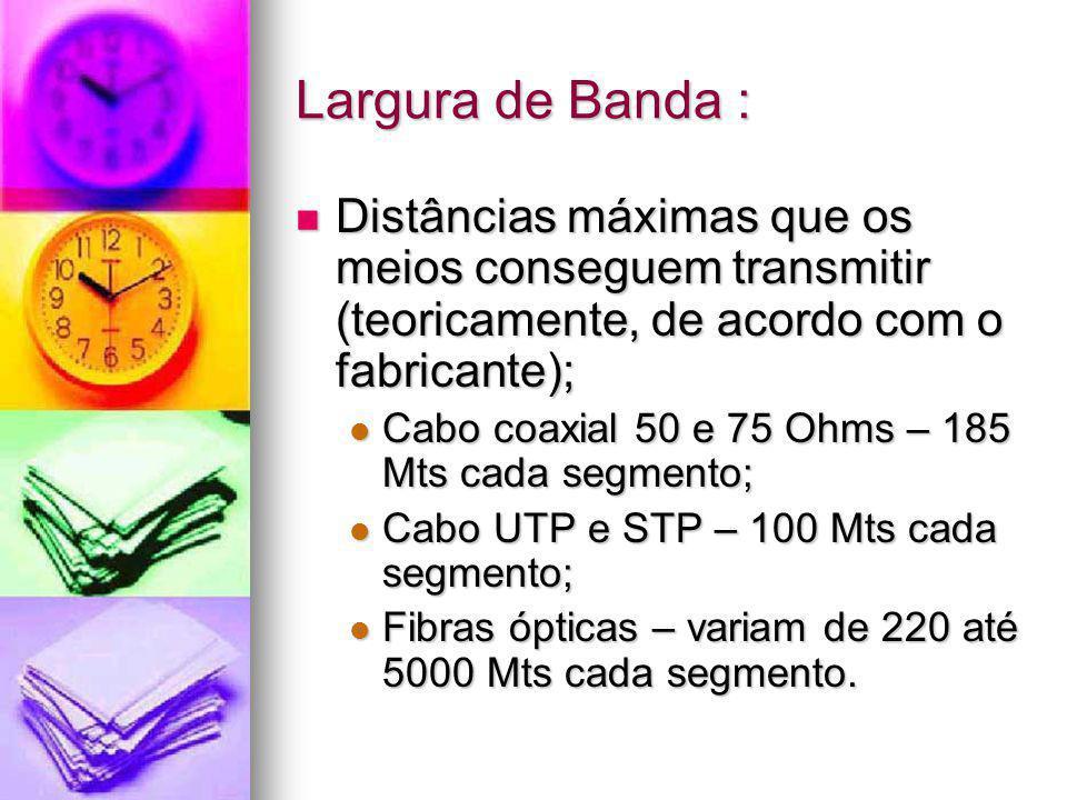 Largura de Banda : Distâncias máximas que os meios conseguem transmitir (teoricamente, de acordo com o fabricante); Distâncias máximas que os meios co