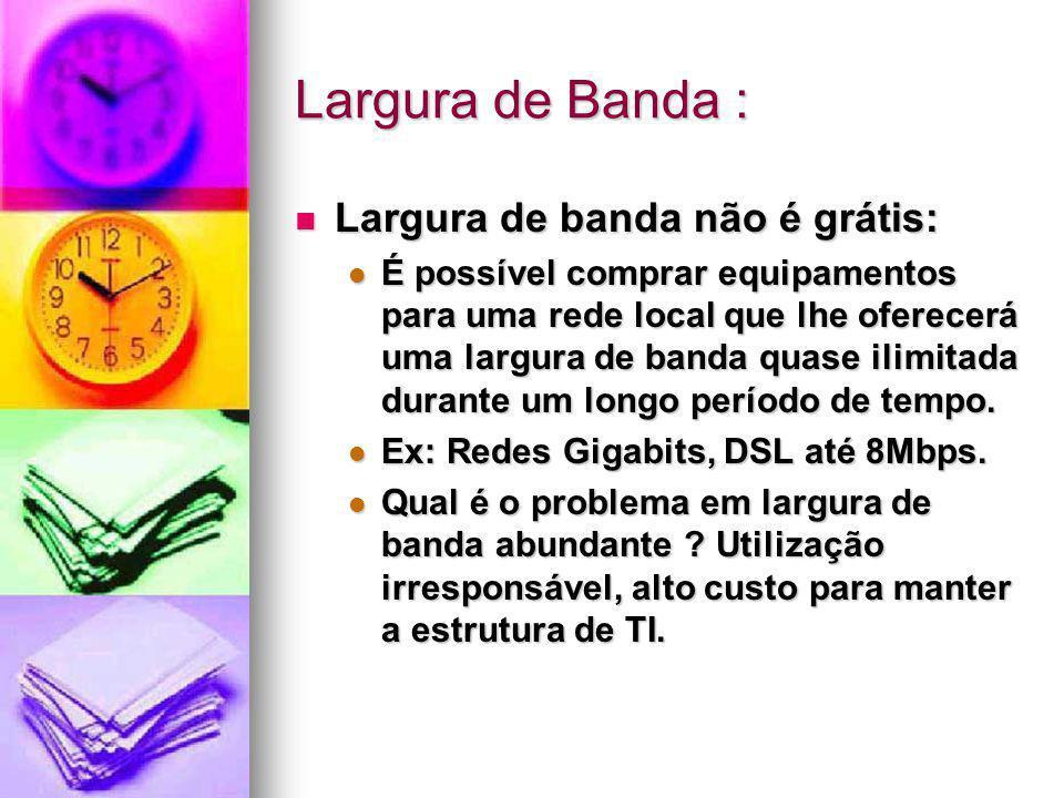 Largura de Banda : Largura de banda não é grátis: Largura de banda não é grátis: É possível comprar equipamentos para uma rede local que lhe oferecerá