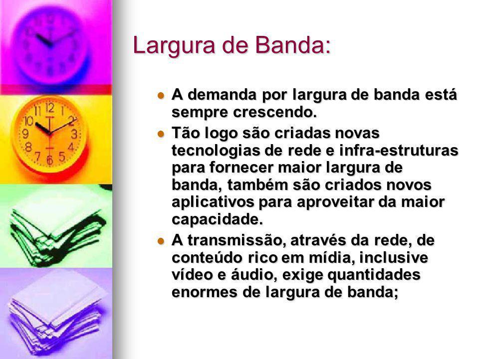 Largura de Banda: A demanda por largura de banda está sempre crescendo. A demanda por largura de banda está sempre crescendo. Tão logo são criadas nov
