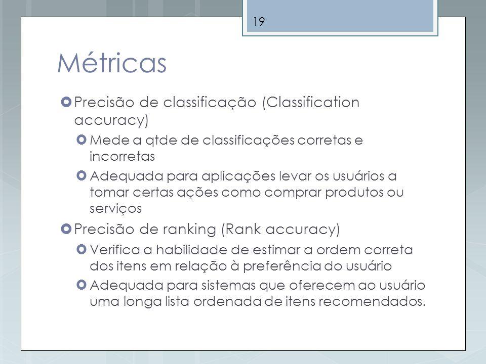 19 Métricas Precisão de classificação (Classification accuracy) Mede a qtde de classificações corretas e incorretas Adequada para aplicações levar os
