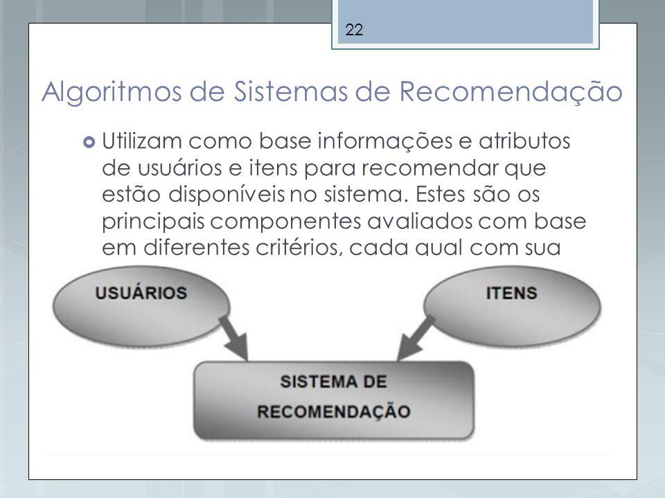 22 Algoritmos de Sistemas de Recomendação Utilizam como base informações e atributos de usuários e itens para recomendar que estão disponíveis no sist
