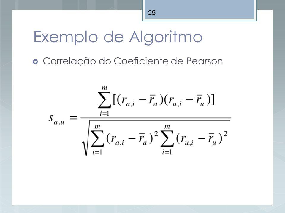 28 Exemplo de Algoritmo Correlação do Coeficiente de Pearson