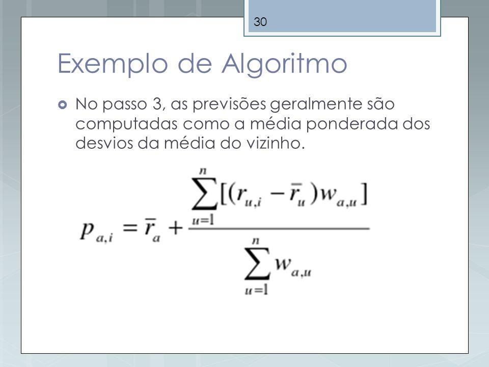 30 Exemplo de Algoritmo No passo 3, as previsões geralmente são computadas como a média ponderada dos desvios da média do vizinho.