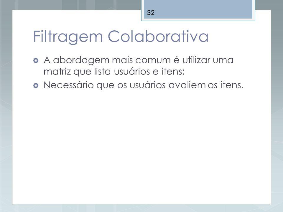 32 Filtragem Colaborativa A abordagem mais comum é utilizar uma matriz que lista usuários e itens; Necessário que os usuários avaliem os itens.