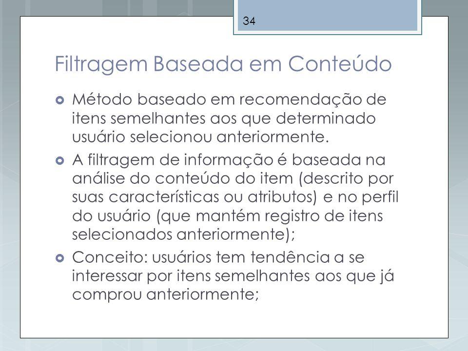 34 Filtragem Baseada em Conteúdo Método baseado em recomendação de itens semelhantes aos que determinado usuário selecionou anteriormente. A filtragem