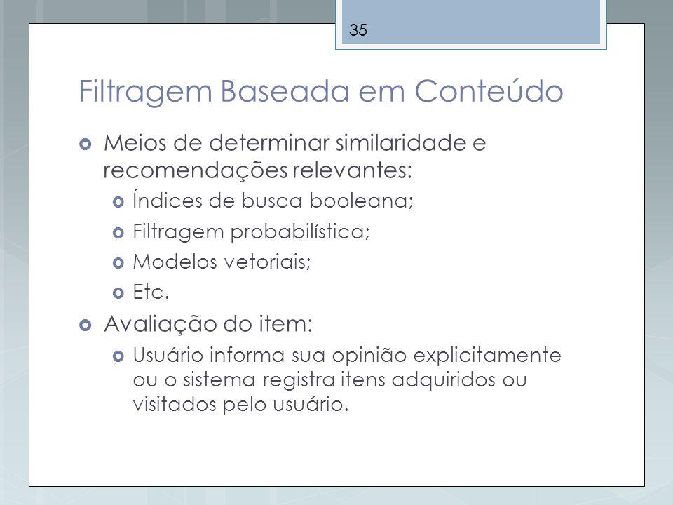 35 Filtragem Baseada em Conteúdo Meios de determinar similaridade e recomendações relevantes: Índices de busca booleana; Filtragem probabilística; Mod