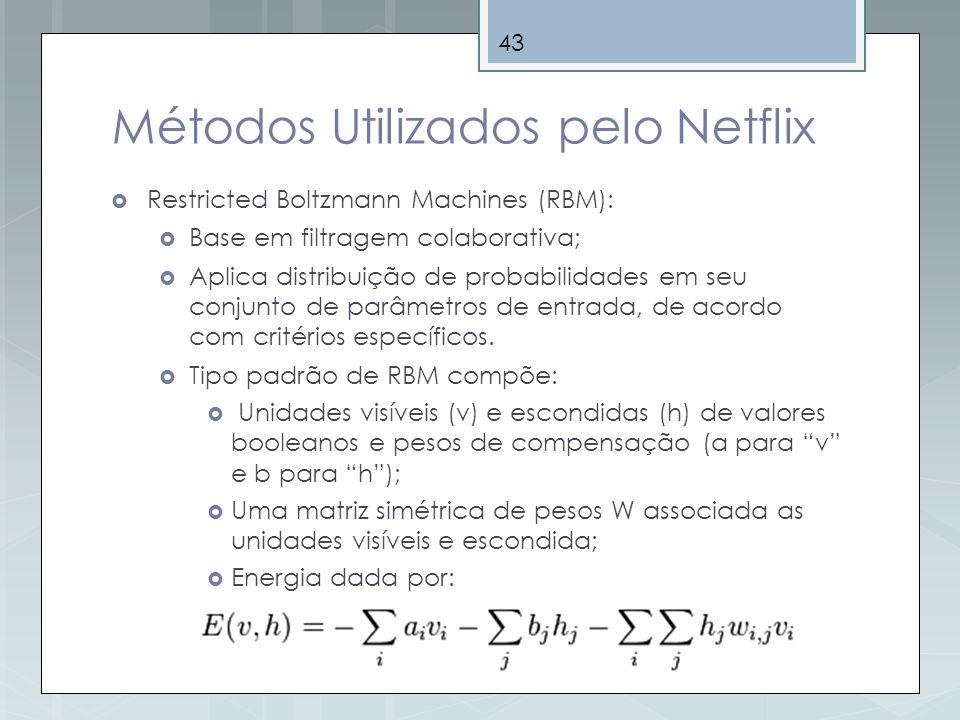 43 Métodos Utilizados pelo Netflix Restricted Boltzmann Machines (RBM): Base em filtragem colaborativa; Aplica distribuição de probabilidades em seu c