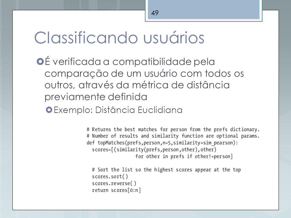 49 Classificando usuários É verificada a compatibilidade pela comparação de um usuário com todos os outros, através da métrica de distância previament