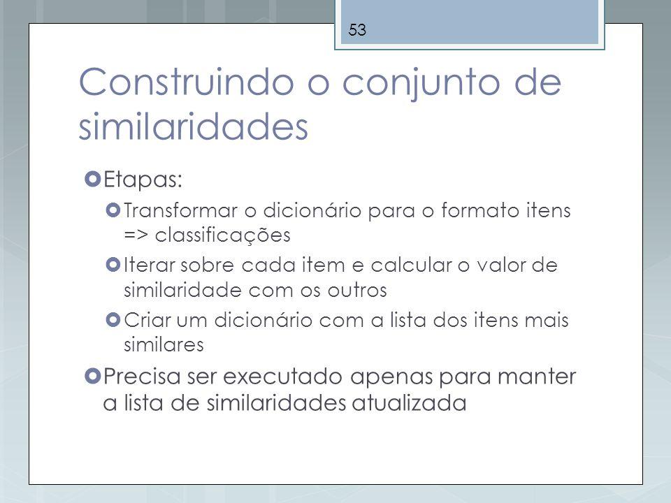53 Construindo o conjunto de similaridades Etapas: Transformar o dicionário para o formato itens => classificações Iterar sobre cada item e calcular o