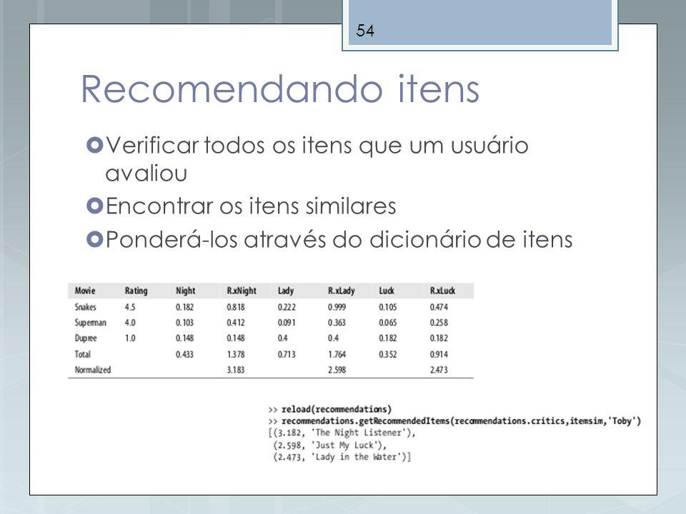 54 Recomendando itens Verificar todos os itens que um usuário avaliou Encontrar os itens similares Ponderá-los através do dicionário de itens