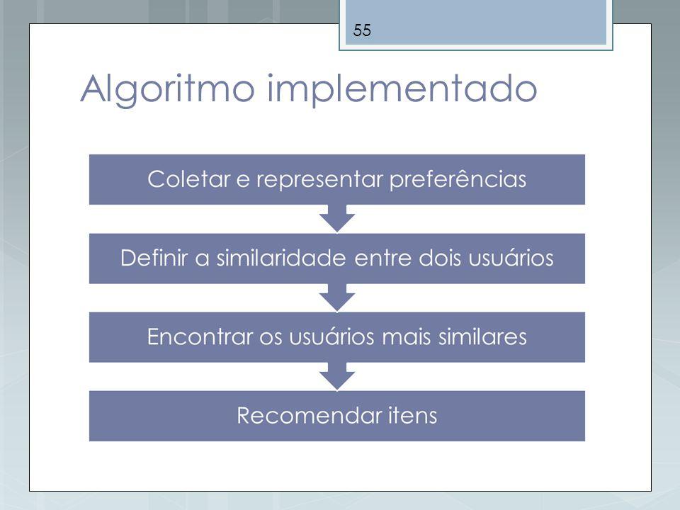 55 Algoritmo implementado