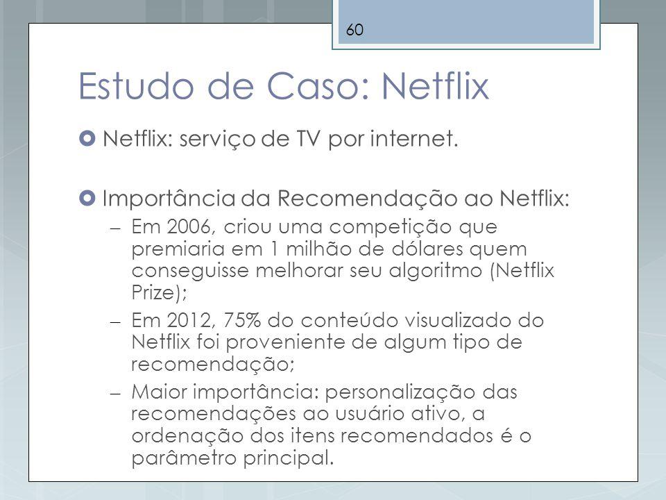 60 Estudo de Caso: Netflix Netflix: serviço de TV por internet. Importância da Recomendação ao Netflix: – Em 2006, criou uma competição que premiaria