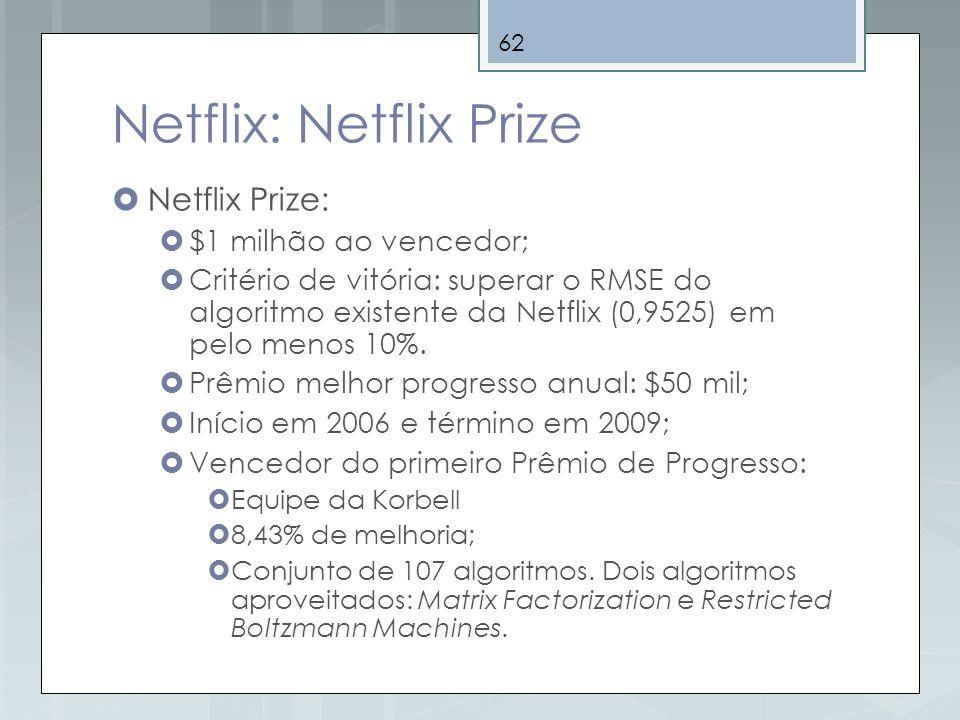 62 Netflix: Netflix Prize Netflix Prize: $1 milhão ao vencedor; Critério de vitória: superar o RMSE do algoritmo existente da Netflix (0,9525) em pelo