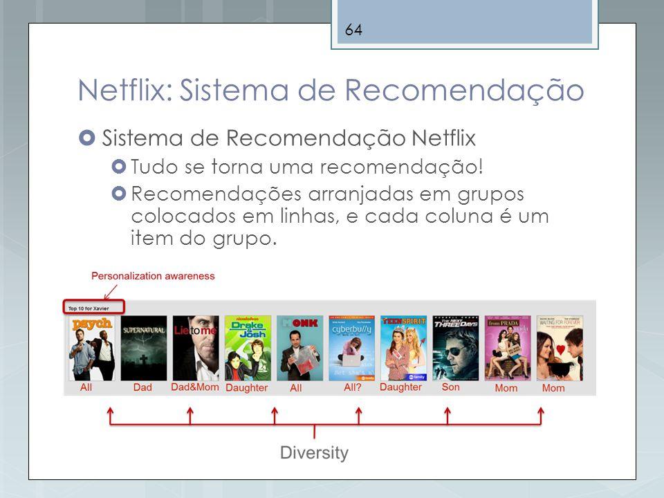 64 Netflix: Sistema de Recomendação Sistema de Recomendação Netflix Tudo se torna uma recomendação! Recomendações arranjadas em grupos colocados em li