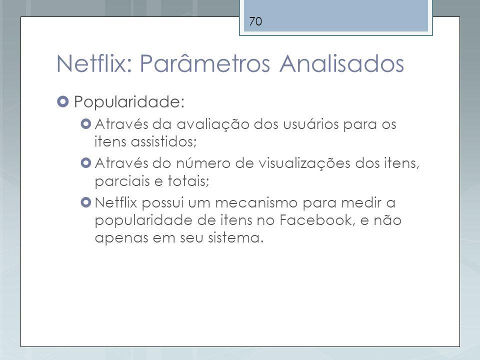 70 Netflix: Parâmetros Analisados Popularidade: Através da avaliação dos usuários para os itens assistidos; Através do número de visualizações dos ite