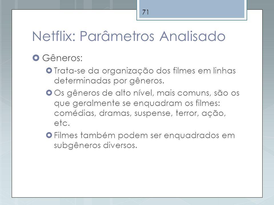 71 Netflix: Parâmetros Analisado Gêneros: Trata-se da organização dos filmes em linhas determinadas por gêneros. Os gêneros de alto nível, mais comuns