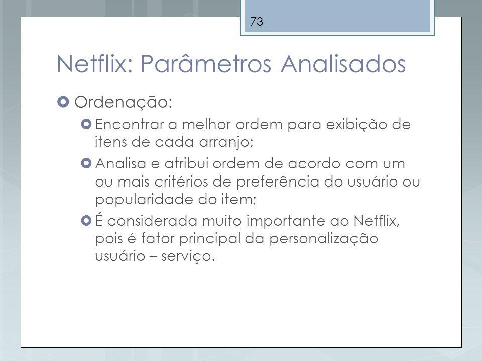 73 Netflix: Parâmetros Analisados Ordenação: Encontrar a melhor ordem para exibição de itens de cada arranjo; Analisa e atribui ordem de acordo com um