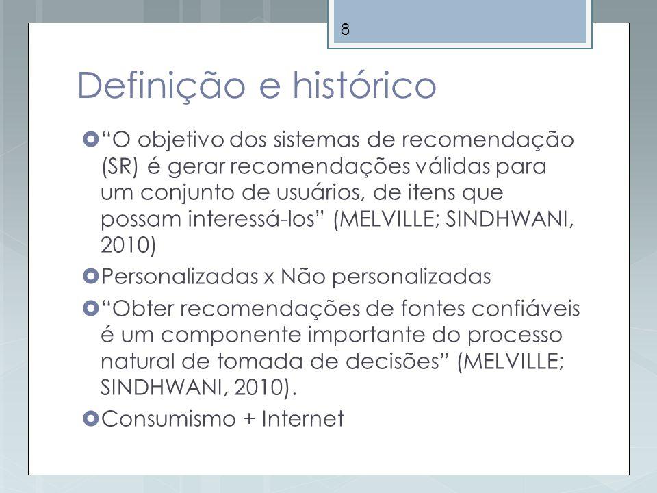 8 Definição e histórico O objetivo dos sistemas de recomendação (SR) é gerar recomendações válidas para um conjunto de usuários, de itens que possam i