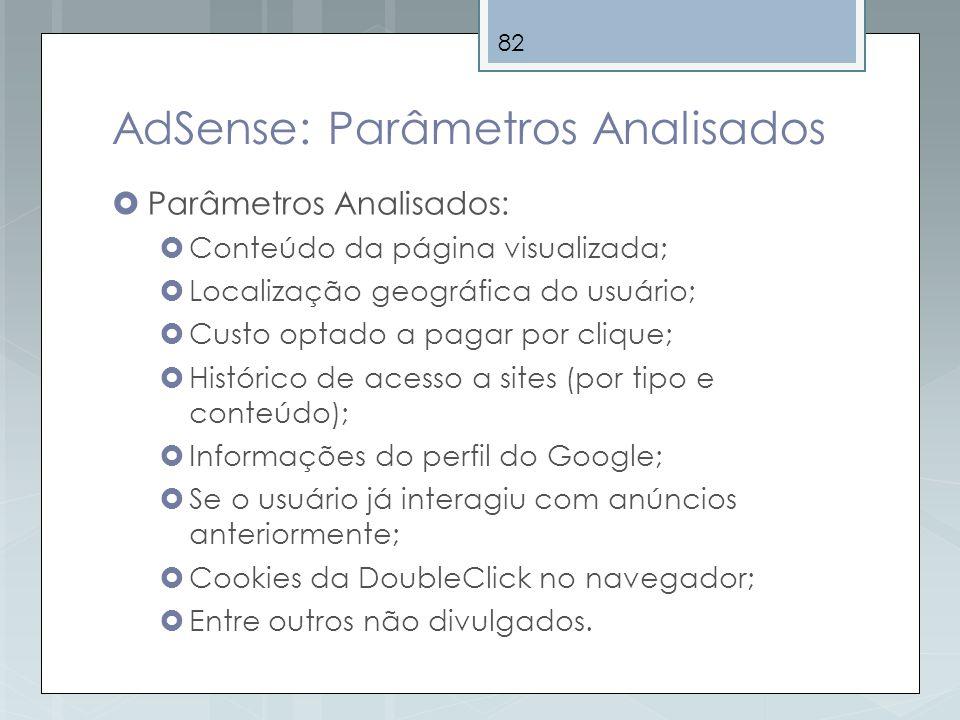 82 AdSense: Parâmetros Analisados Parâmetros Analisados: Conteúdo da página visualizada; Localização geográfica do usuário; Custo optado a pagar por c