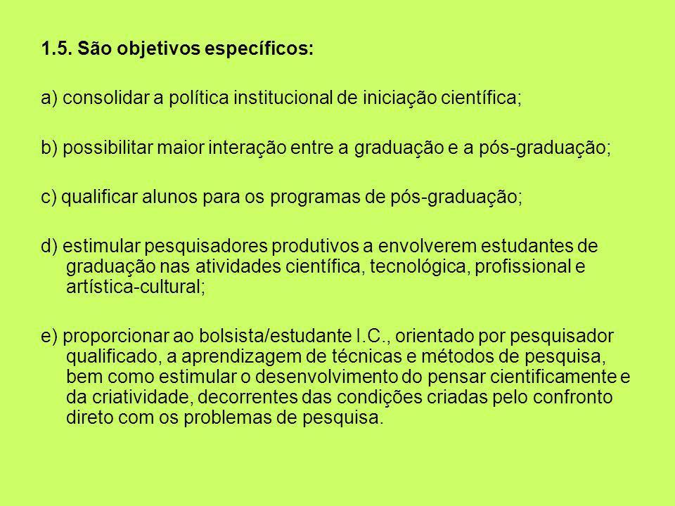 1.5. São objetivos específicos: a) consolidar a política institucional de iniciação científica; b) possibilitar maior interação entre a graduação e a