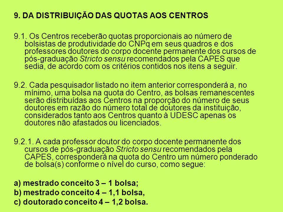 9. DA DISTRIBUIÇÃO DAS QUOTAS AOS CENTROS 9.1. Os Centros receberão quotas proporcionais ao número de bolsistas de produtividade do CNPq em seus quadr