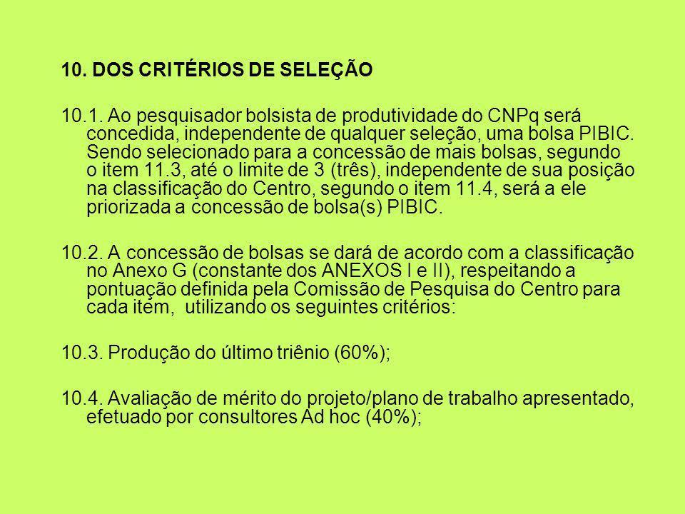 10. DOS CRITÉRIOS DE SELEÇÃO 10.1. Ao pesquisador bolsista de produtividade do CNPq será concedida, independente de qualquer seleção, uma bolsa PIBIC.