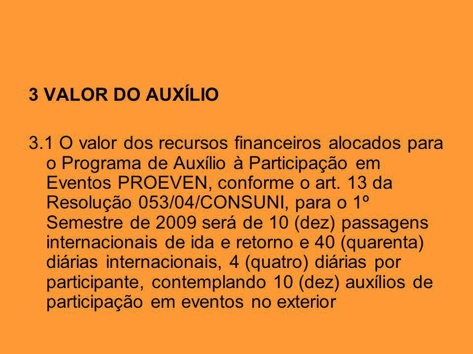 3 VALOR DO AUXÍLIO 3.1 O valor dos recursos financeiros alocados para o Programa de Auxílio à Participação em Eventos PROEVEN, conforme o art.