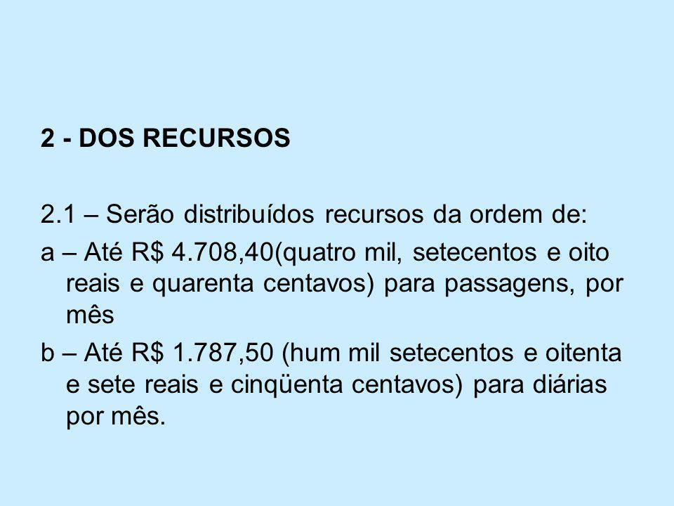 2 - DOS RECURSOS 2.1 – Serão distribuídos recursos da ordem de: a – Até R$ 4.708,40(quatro mil, setecentos e oito reais e quarenta centavos) para pass