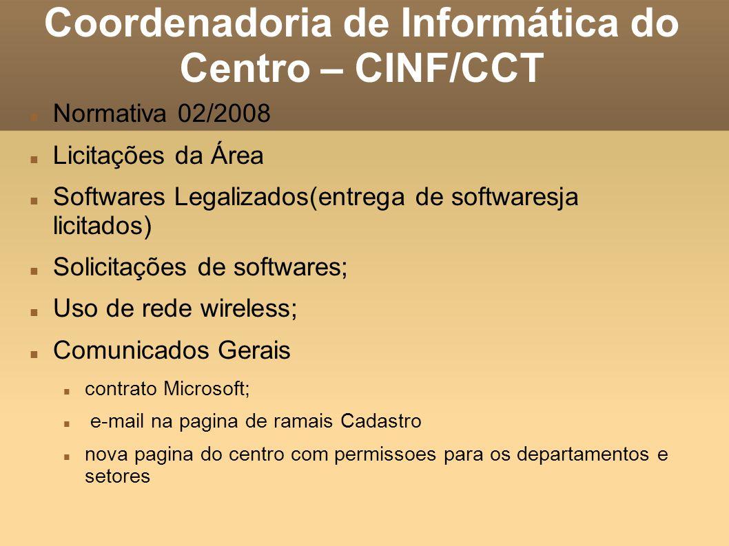Coordenadoria de Informática do Centro – CINF/CCT Normativa 02/2008 Licitações da Área Softwares Legalizados(entrega de softwaresja licitados) Solicit