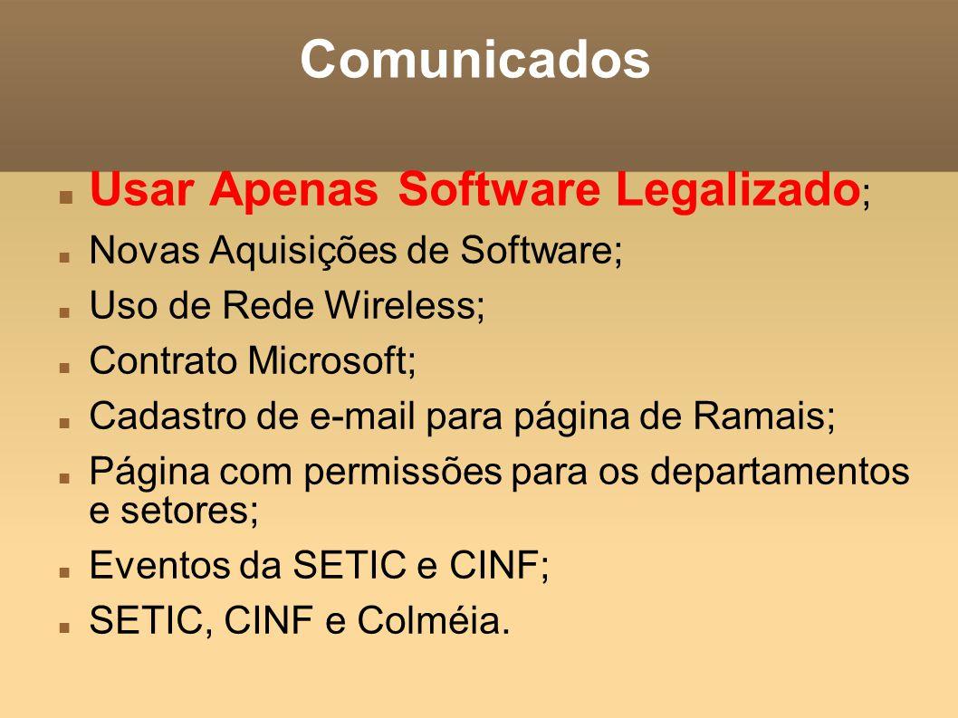 Comunicados Usar Apenas Software Legalizado ; Novas Aquisições de Software; Uso de Rede Wireless; Contrato Microsoft; Cadastro de e-mail para página de Ramais; Página com permissões para os departamentos e setores; Eventos da SETIC e CINF; SETIC, CINF e Colméia.