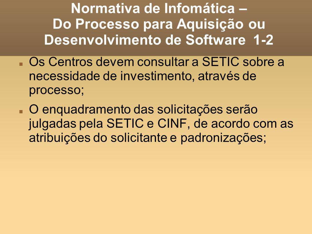 Normativa de Infomática – Do Processo para Aquisição ou Desenvolvimento de Software 1-2 Os Centros devem consultar a SETIC sobre a necessidade de inve