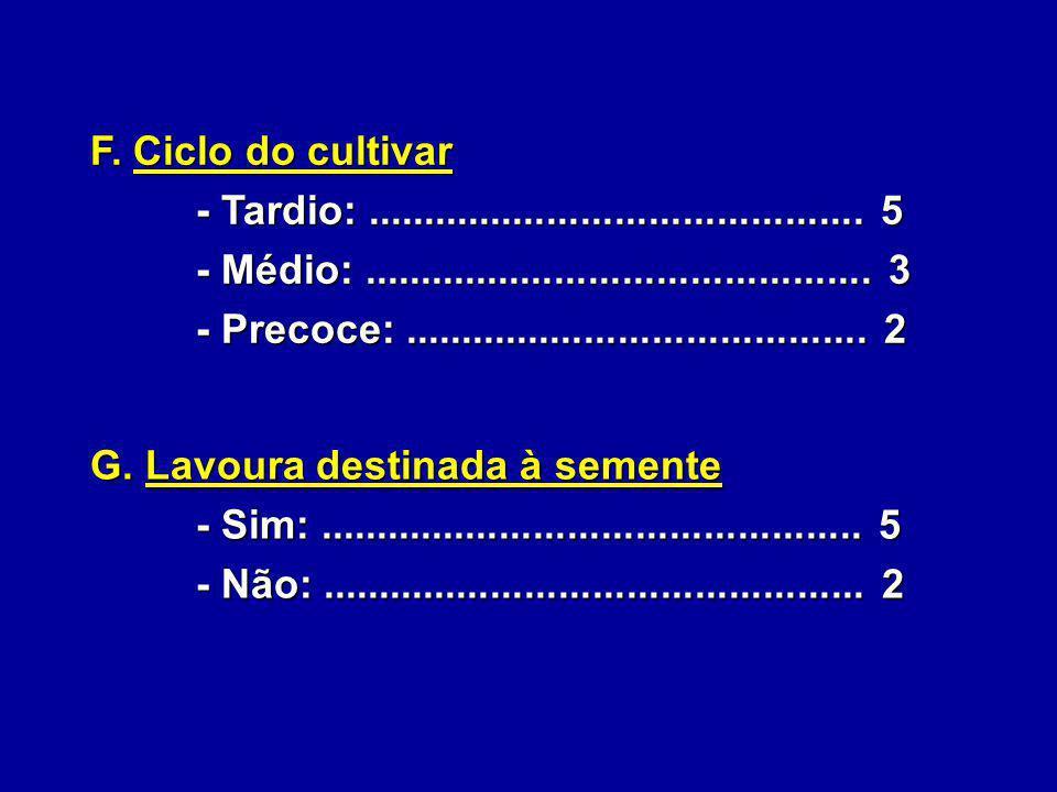 F. Ciclo do cultivar - Tardio:............................................ 5 - Tardio:............................................ 5 - Médio:.........
