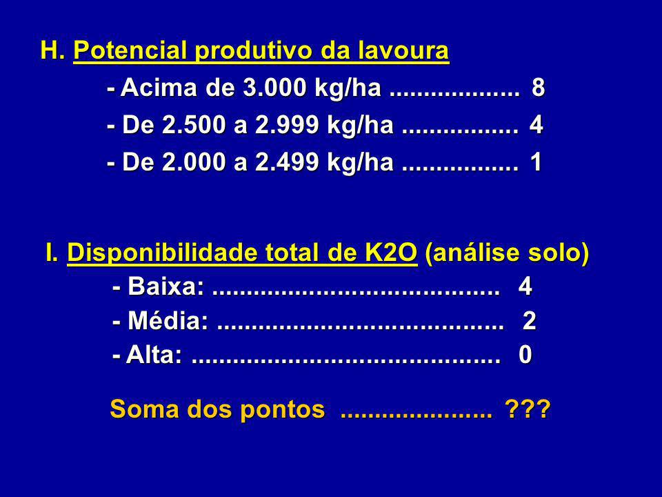 I. Disponibilidade total de K2O (análise solo) - Baixa:......................................... 4 - Baixa:......................................... 4