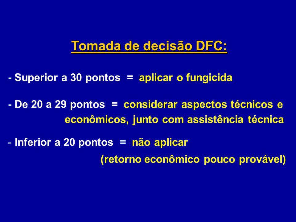 Tomada de decisão DFC: - Superior a 30 pontos = aplicar o fungicida - De 20 a 29 pontos = considerar aspectos técnicos e econômicos, junto com assistê