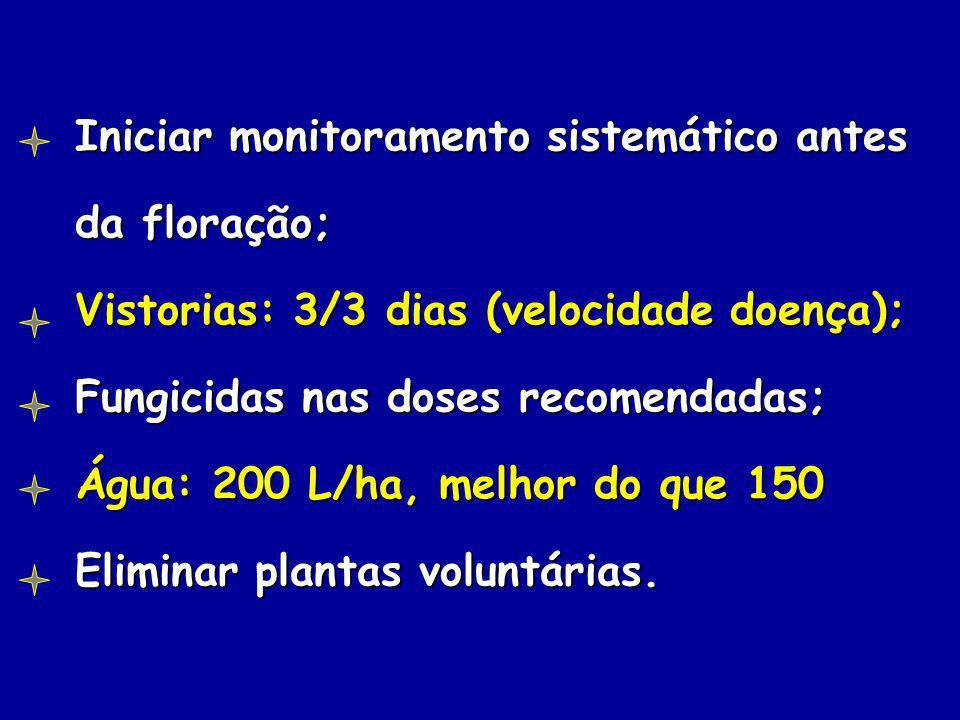Iniciar monitoramento sistemático antes da floração; Vistorias: 3/3 dias (velocidade doença); Fungicidas nas doses recomendadas; Água: 200 L/ha, melho
