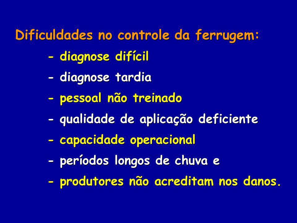 Dificuldades no controle da ferrugem: Dificuldades no controle da ferrugem: - diagnose difícil - diagnose difícil - diagnose tardia - diagnose tardia