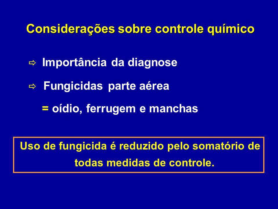 Considerações sobre controle químico Importância da diagnose Fungicidas parte aérea = oídio, ferrugem e manchas Uso de fungicida é reduzido pelo somat