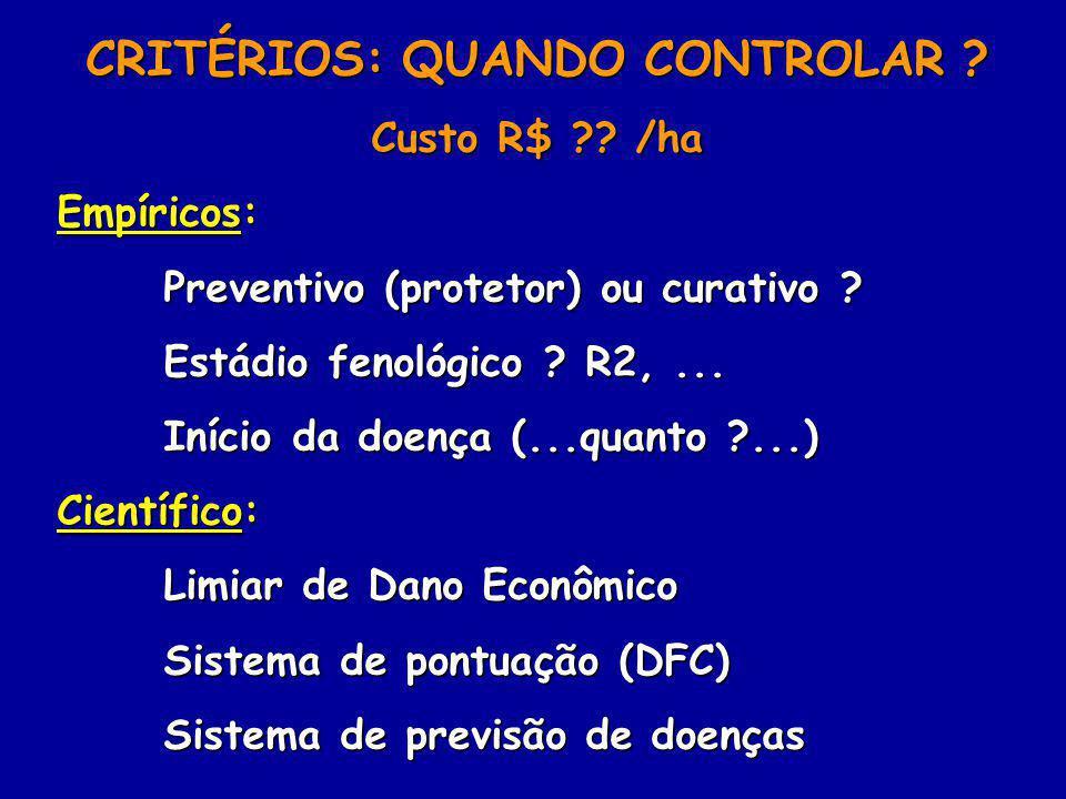 CRITÉRIOS: QUANDO CONTROLAR ? Custo R$ ?? /ha Empíricos: Preventivo (protetor) ou curativo ? Estádio fenológico ? R2,... Início da doença (...quanto ?