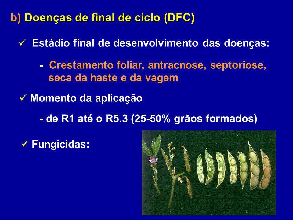 b) Doenças de final de ciclo (DFC) Estádio final de desenvolvimento das doenças: - Crestamento foliar, antracnose, septoriose, seca da haste e da vage