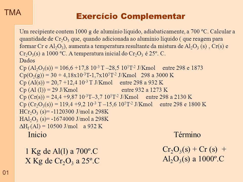 TMA 01 Exercício Complementar Um recipiente contem 1000 g de alumínio líquido, adiabaticamente, a 700 ºC. Calcular a quantidade de Cr 2 O 3 que, quand