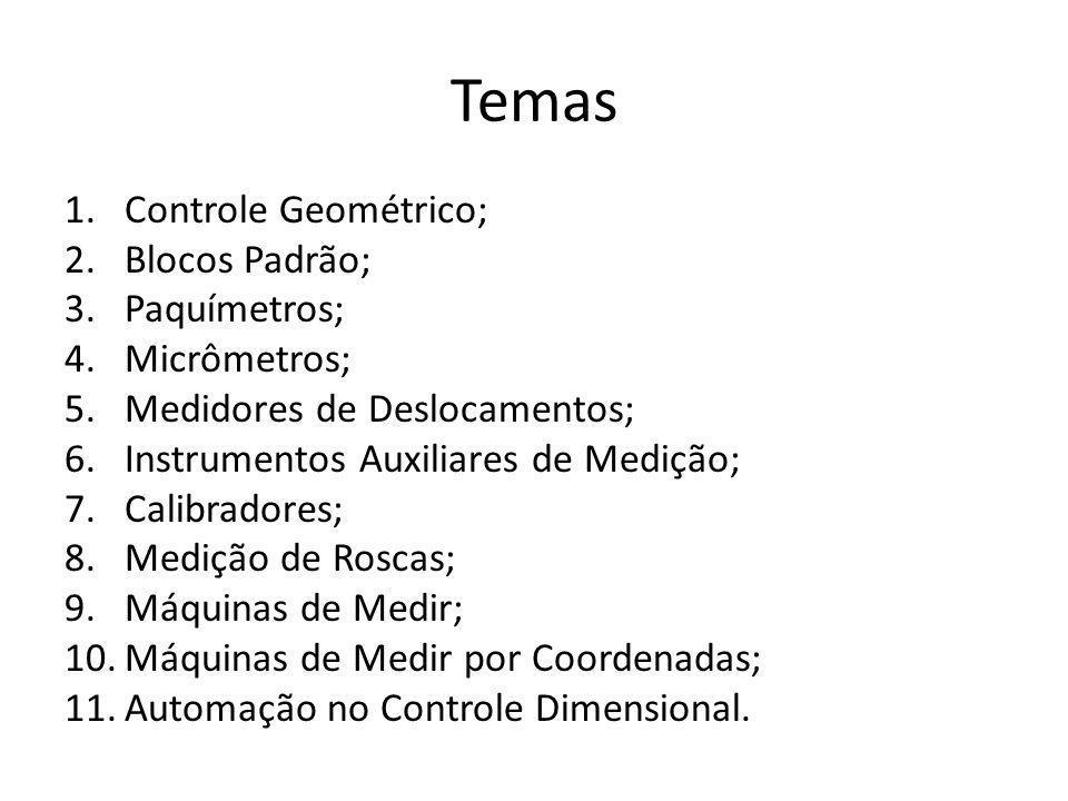 Temas 1.Controle Geométrico; 2.Blocos Padrão; 3.Paquímetros; 4.Micrômetros; 5.Medidores de Deslocamentos; 6.Instrumentos Auxiliares de Medição; 7.Cali