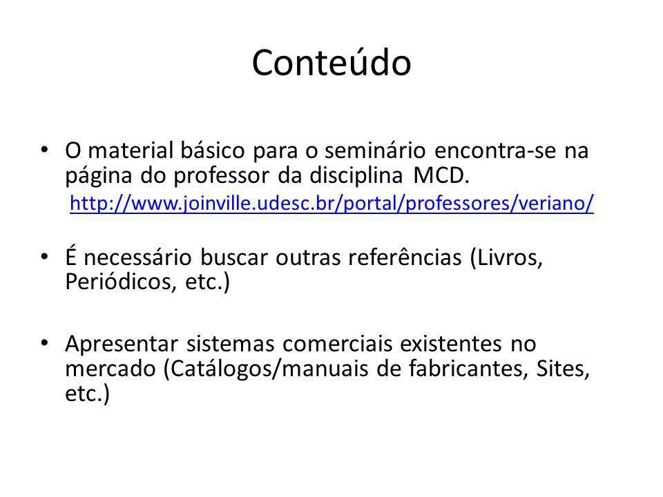 Conteúdo O material básico para o seminário encontra-se na página do professor da disciplina MCD. http://www.joinville.udesc.br/portal/professores/ver