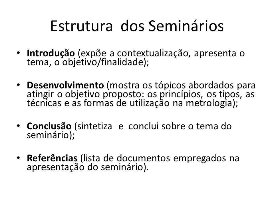 Estrutura dos Seminários Introdução (expõe a contextualização, apresenta o tema, o objetivo/finalidade); Desenvolvimento (mostra os tópicos abordados