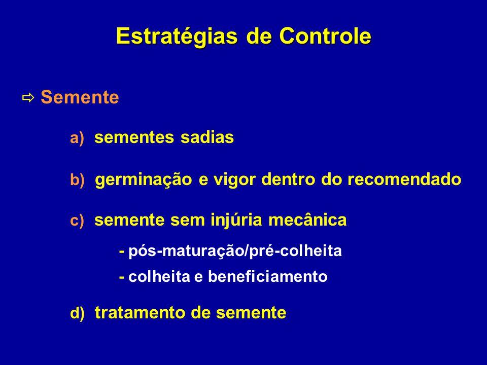 Estratégias de Controle Semente a) sementes sadias b) germinação e vigor dentro do recomendado c) semente sem injúria mecânica - pós-maturação/pré-col