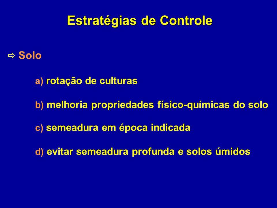 Estratégias de Controle Solo a) rotação de culturas b) melhoria propriedades físico-químicas do solo c) semeadura em época indicada d) evitar semeadur